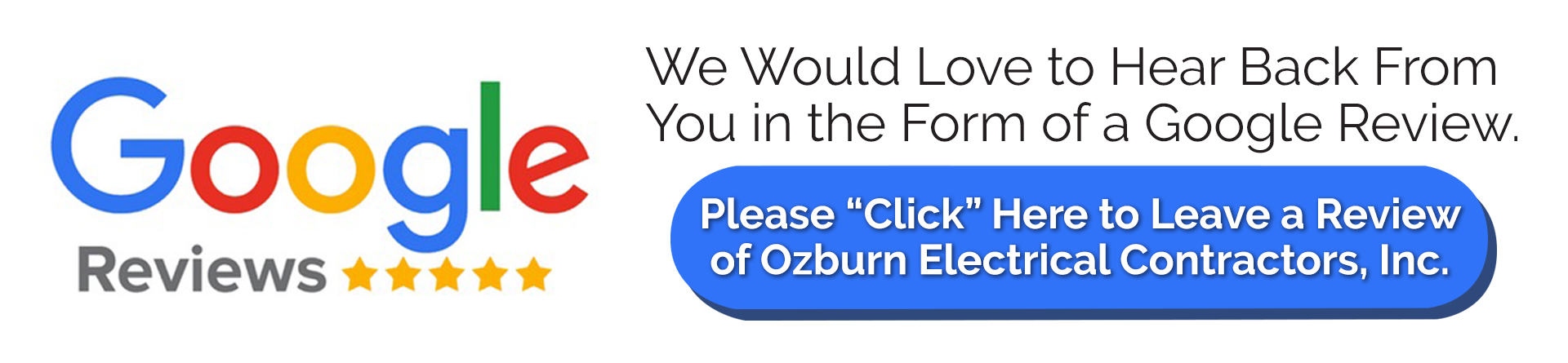 Ozburn Electric Google Review